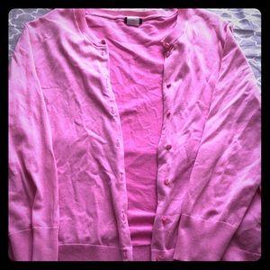 J.Crew Pink Quarter Sleeve Cardigan (L)